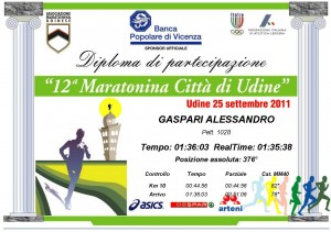 Diploma Maratonina Città di Udine 2011